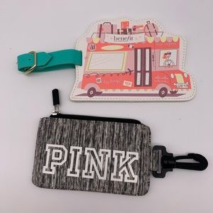 Set of 2 ID cases / luggage tags PINK Victoria Sec